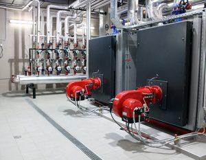 A boiler in a boiler room.