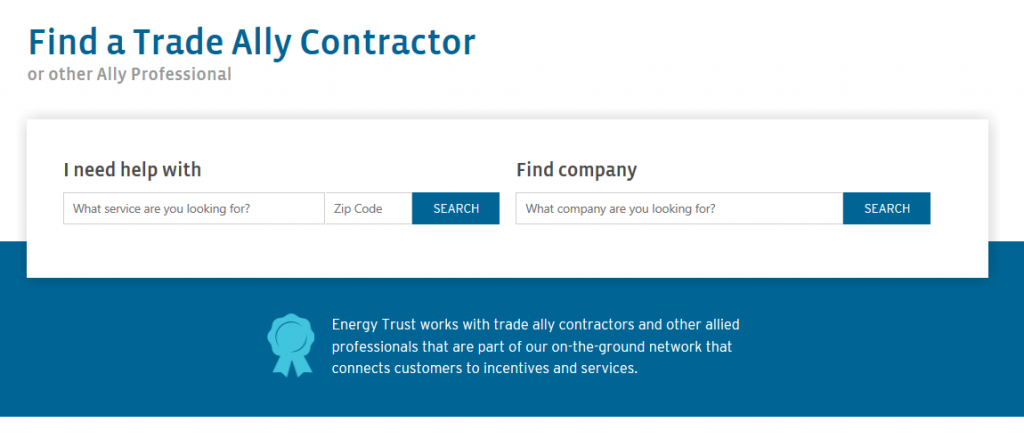Screenshot of redesigned Find a Contractor tool interface.