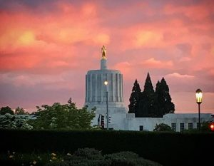 Oregon State capitol building at sunset