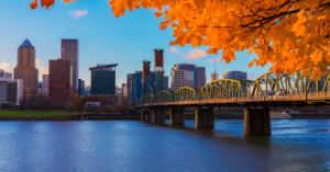 view of bridge downtown Portland