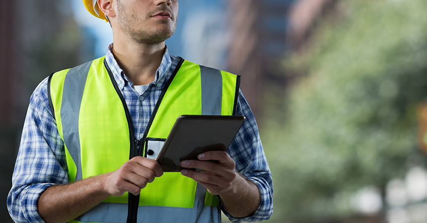 Contractor on tablet