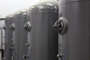 Close-up of compressed air canisters.