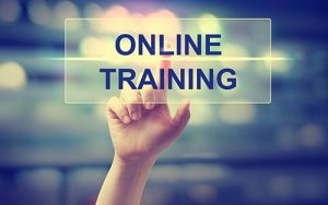 "Index finger pointing and pressing on words ""Online Training""."