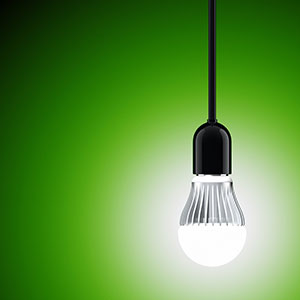 an illustration of a light bulb against a green backdrop