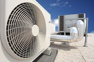 Variable refrigerant flow equipment on a building rooftop.