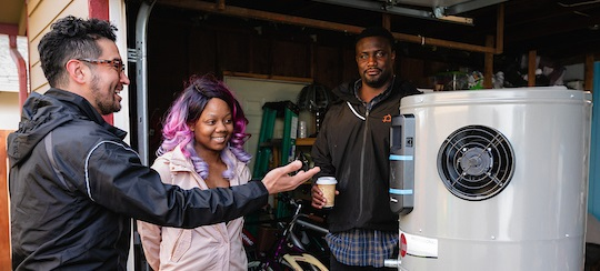 Contractor, people and water heater