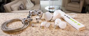 Direct install showerhead, faucet aerator, smartplug, lightbulbs