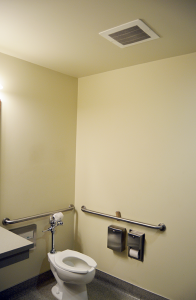 a bathroom with a ceiling installed fan