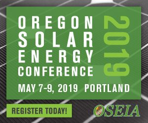 Oregon Solar Energy Conference graphic, May 7-9 2019 presented by OSEIA.
