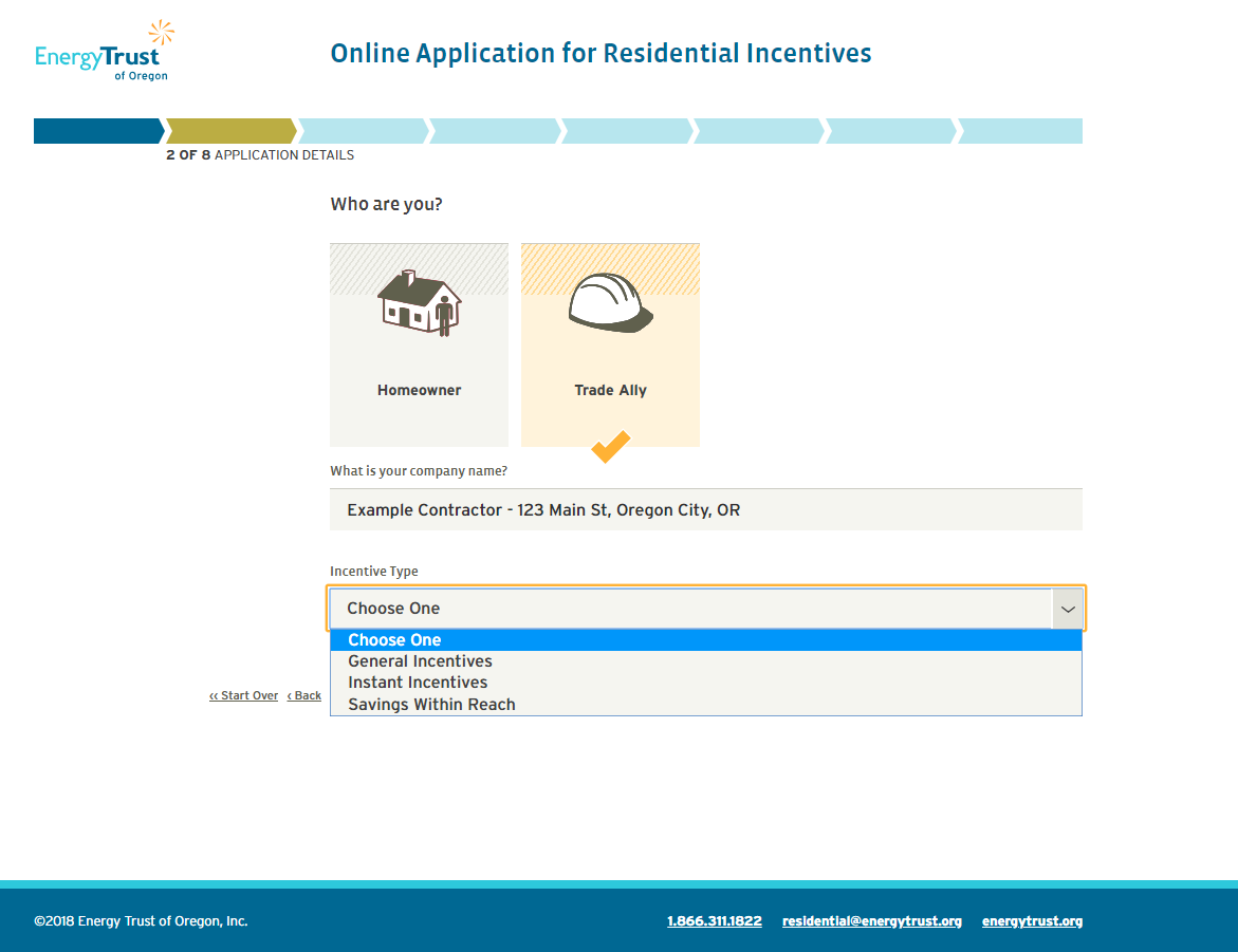 Screenshot of Online Application for Residential Incentives landing page showing how to apply for Savings Within Reach incentives.