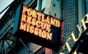 Close-up of the Portland Rescue Mission sign