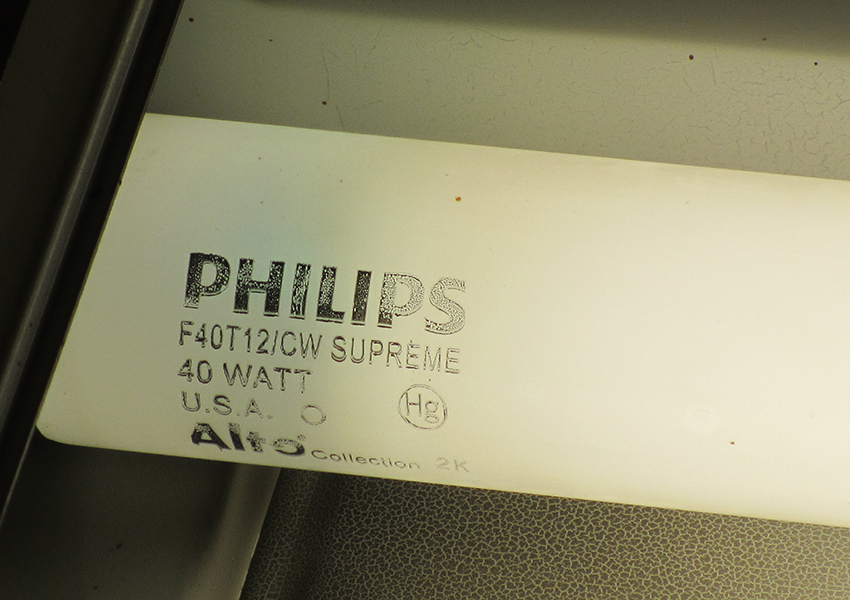 close up of lamp label