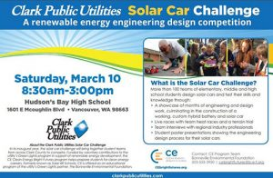 Flyer telling the details of the Solar Car Challenge on March 10, 2018 from 8:30 am to 3:00 pm