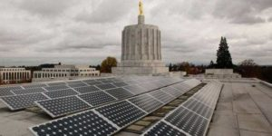 Roof-top solar array on the Oregon state capitol building.
