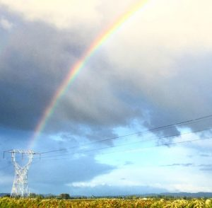 View of a rainbow in the sky over some power lines.