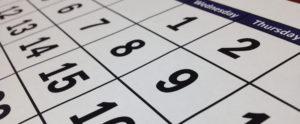 Calendar close up.